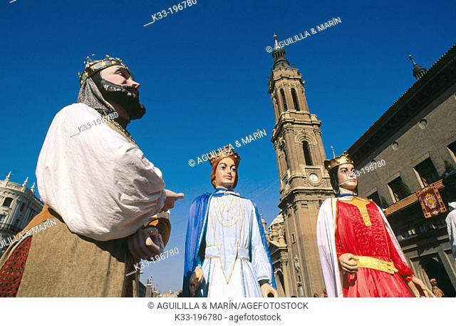 'Gigantes y cabezudos', local festival of Virgen del Pilar. Zaragoza. Spain