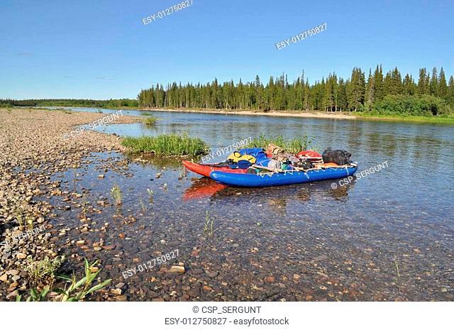 Catamaran for rafting on the taiga river
