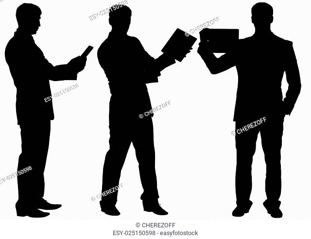 Silhouettes of businessman making speech in different postures