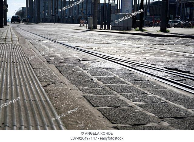 streetcar rails with cobbles - ground-up