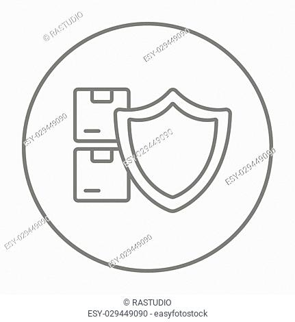Stack of packages with a shield line icon for web, mobile and infographics. Vector grey thin line icon in the circle isolated on white background