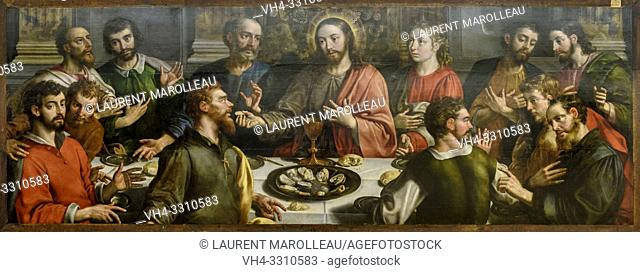 The Last Supper by Martin de Vos (1532-1603), oil on oak panel lend by National Museum of Ancient Art, Evora Museum, Evora, Alentejo Region, Portugal, Europe