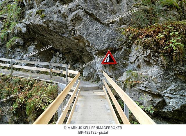Wooden bridge in the Rappenloch canyon - Dornbirn, Vorarlberg, Austria, Europe