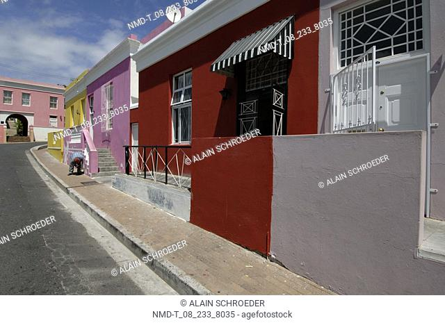Buildings at the roadside, Bo-Kaap, Cape Town, Western Cape Province, South Africa