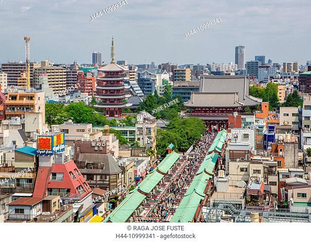 Japan, Tokyo City, Asakusa, Sensoji Temple and Five story Pagoda