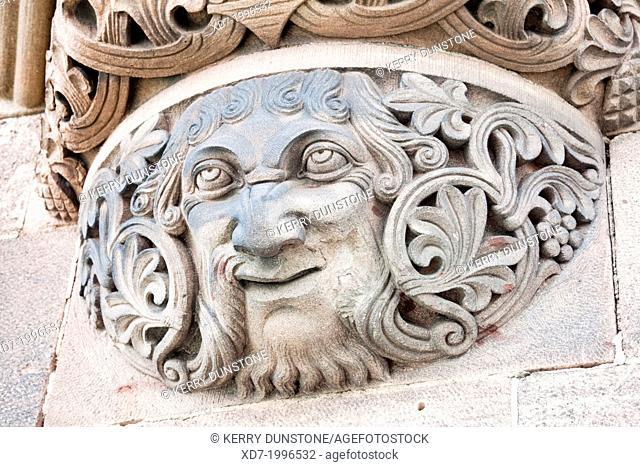 Carved stone face on bridge support, Sudbrucke (South Bridge) Railway crossing, Cologne, Rhine-Westphalia, Germany