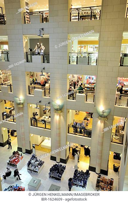 Interior, view over the storeys, KaDeWe or Kaufhaus des Westens department store of the Karstadt Group, Am Wittenbergplatz square, Tauentzienstrasse