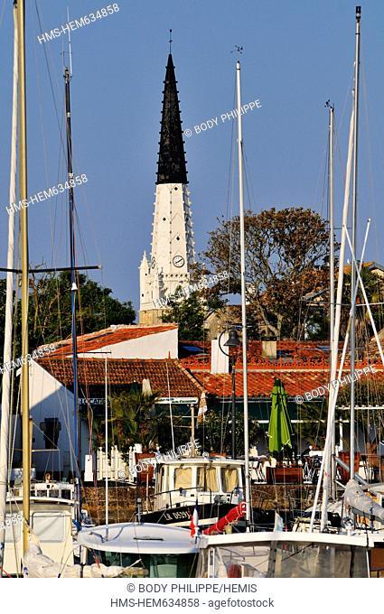France, Charente Maritime, Ile de Re, Ars en Re, labelled Les Plus Beaux Villages de France The Most Beautiful Villages of France, port and wet dock