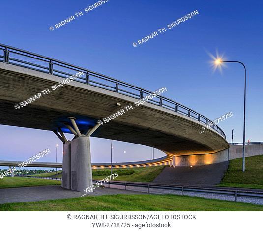 Roundabout bridge and road, Reykjavik, Iceland