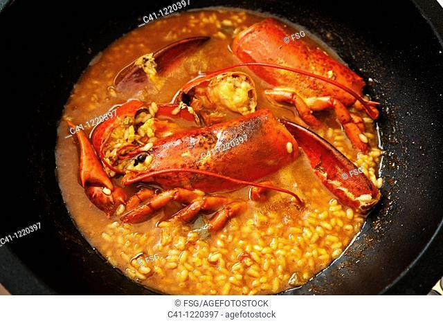 Rice with lobster, Ebro river delta, Tarragona province, Catalonia, Spain