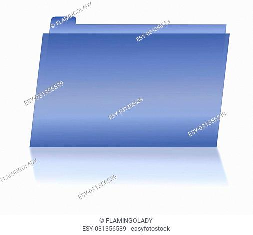 Illustration of a blue tabbed file folder, with a shadow, and on a white background