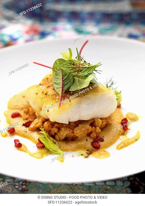 Hake on a biryani and lenitl sauce with pomegranate seeds