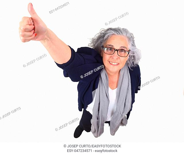 woman with thumb up isolated on white