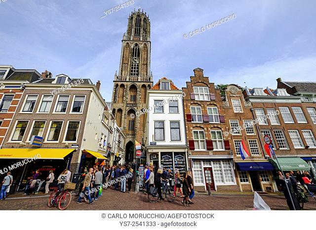 Buildings along the Oudergracht, the old canal and Domtoren, St Martin's Cathedral, Utrecht, The Netherlands, Europe