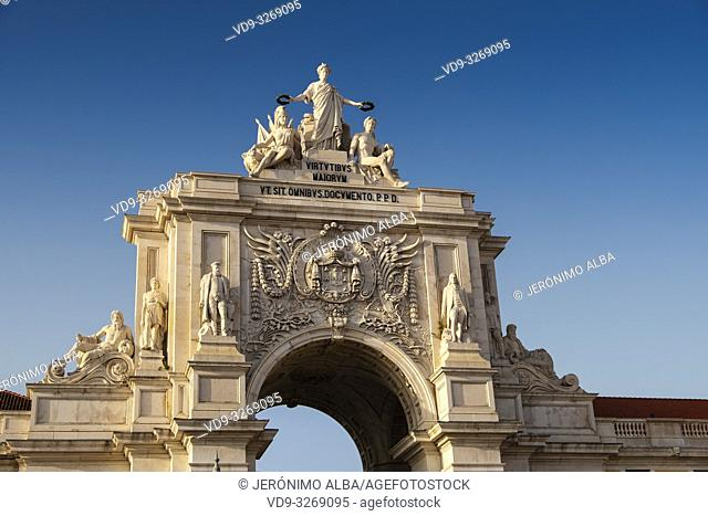 Triumphal Arch of Rua Augusta, Commerce Square. Lisbon, Portugal. Europe
