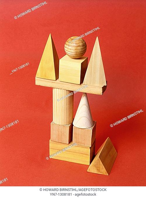 construction of wooden blocks
