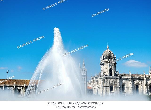 Beautiful image of the Hieronymites Monastery (Jeronimos), a UNESCO world heritage site, in Lisbon, Portugal