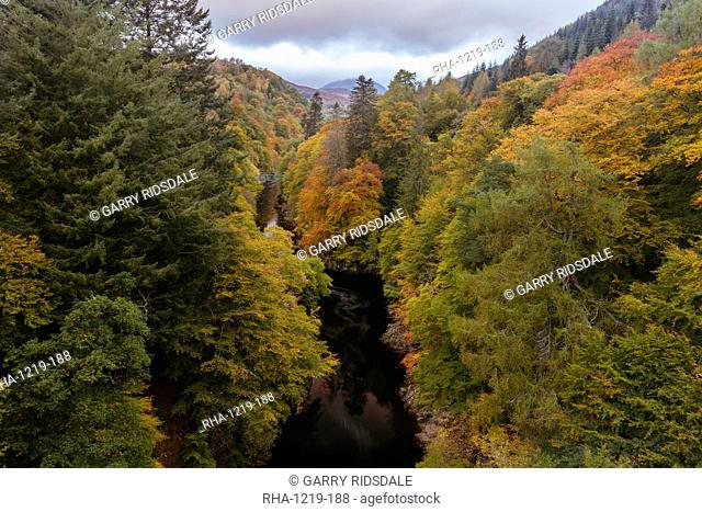 River Garry and the Pass of Killiecrankie, autumn in the Scottish Highlands, Scotland, United Kingdom, Europe
