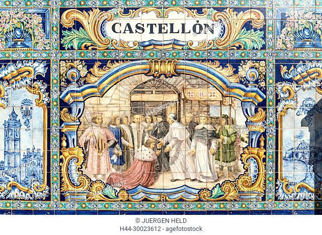 Antique ceramic, wall tiles representing provinces and cities of Spain , Castellon, Placa de Espana, spanish square, Seville, Andalusia, Spain