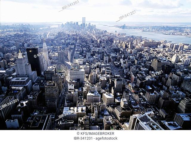 South of Manhattan, view from the Empire State Building, New York City, USA