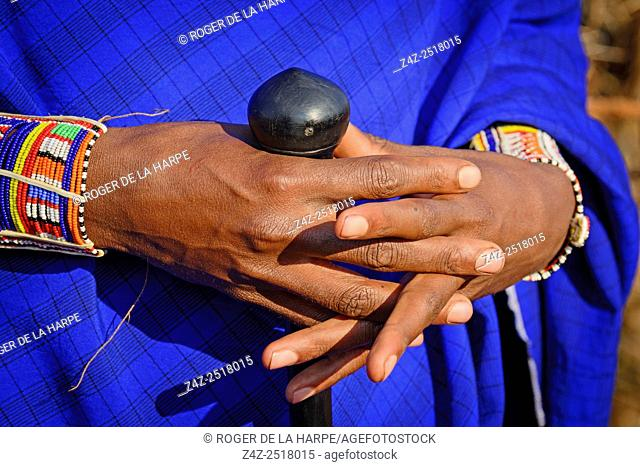 Maasai (Masai) people detail of hands. Satao Elerai Conservancy. Near Amboseli National Park. Kenya