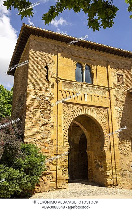 Puerta del Vino. Alhambra, UNESCO World Heritage Site. Granada City. Andalusia, Southern Spain Europe