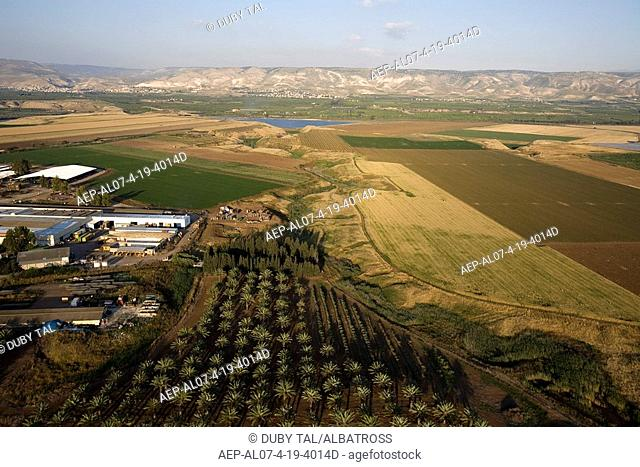 Aerial photograph of the agriculture fields of the Jordan valley