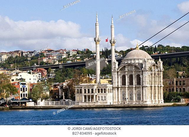 Ortakoy mosque and the Bosphorus bridge Istanbul Turkey