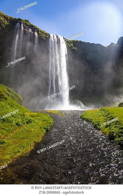 Seljalandsfoss waterfall west of Skogar on Highway 1 in Iceland