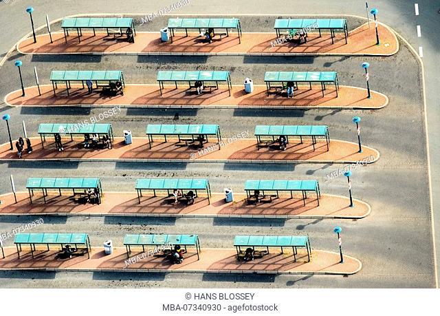 Aerial view, bus station Wesel, Franz-Etzel-Platz, central bus station, bus shelter, bus stop, Wesel, Lower Rhine, North Rhine-Westphalia, Germany