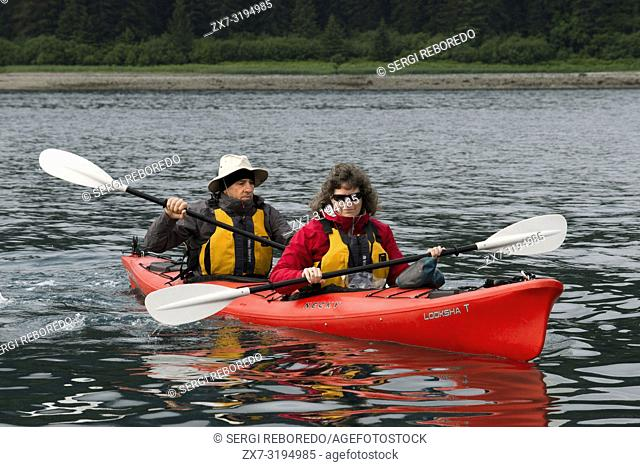 Kayaking in Icy Strait. Glacier Bay National Park adn Preserve. Chichagof Island. Juneau. Southeast Alaska. Today is the ultimate day of exploration