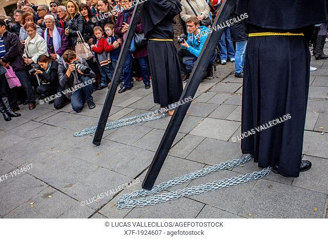 Penitents in procession, sisterhood of Jesus del Gran Poder y virgen de la Macarena, Good Friday, Easter week, Plaza de San Agustin, Barcelona, Catalonia, Spain