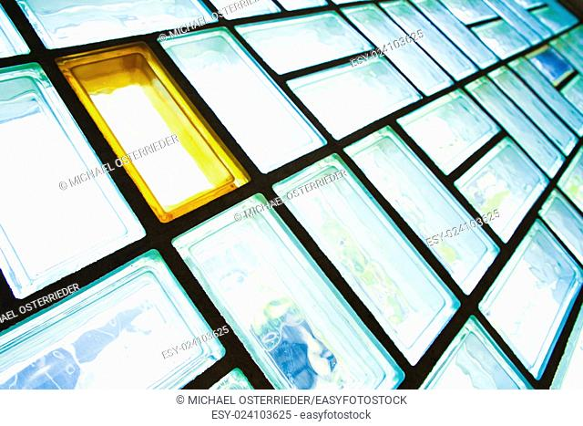 A glass brick wall background. Architecture interior