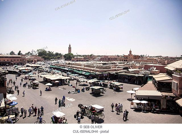 View of market stalls on Jamaa el Fna Square, Marrakech, Morocco