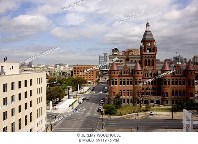 Aerial view of Red Courthouse in Dallas city center, Texas, United States