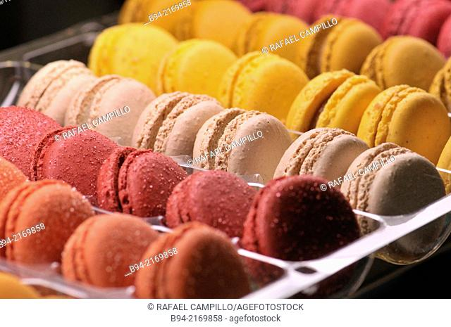 Macarons sweet meringue-based confection made with eggs, icing sugar, granulated sugar, almond powder or ground almond, and food colouring