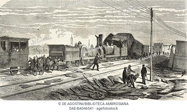 Two trains crashing on the Ligne du Nord line near Arras, France, illustration from L'Illustration, Journal Universel, No 1095, Volume XLIII, February 20, 1864