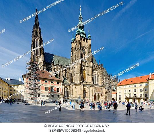 PRAGUE, HRADCANY DISTRICT / CZECH REPUBLIC - SEPTEMBER 29, 2018: The Metropolitan Cathedral of Saints Vitus, Wenceslaus and Adalbert. Southern facade