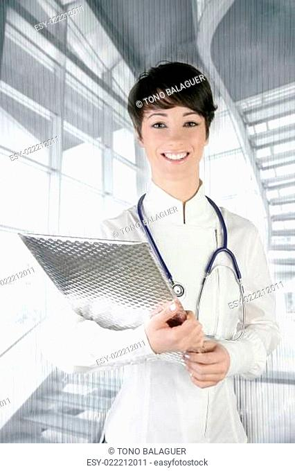 modern future doctor woman stethoscope on silver