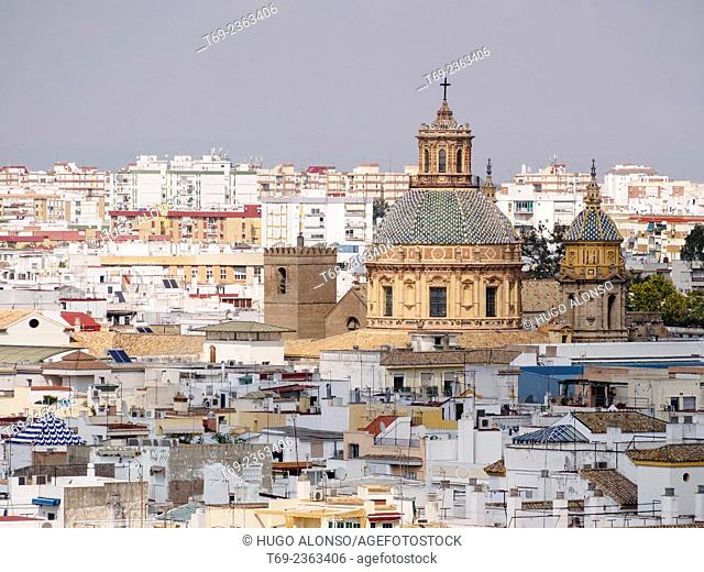 Church. Aerial view of Seville from the Metropol. Seville. Spain