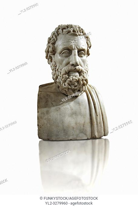 Roman marble sculpture bust of Aeschines, 23BC yo 14 AD Augustin copy from an original 340-330 BC Hellanistic Greek original, inv 6139, Museum of Archaeology