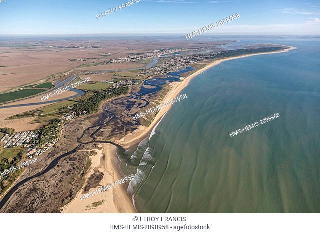 France, Vendee, La Faute sur Mer, la Casse de la Belle Henriette nature reserve, the Lay river and the Pointe d'Arcay (aerial view)