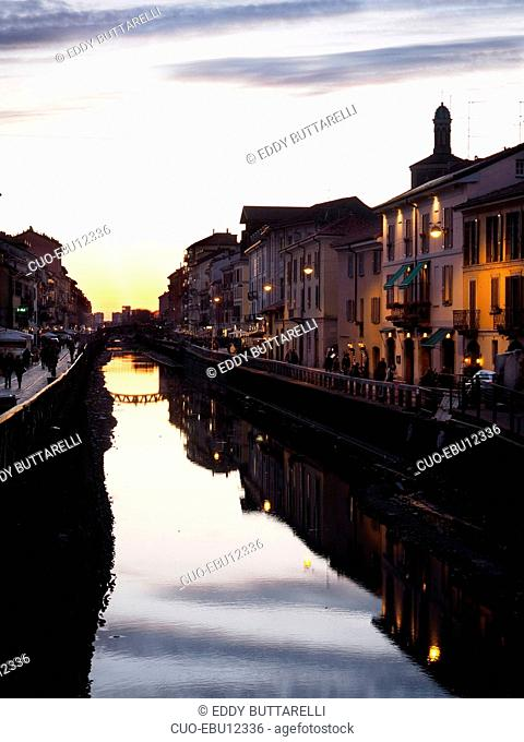 Naviglio Grande canal, coffe shop and restaurant area, Milan, Lombardy, Italy, Europe