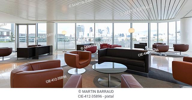 Leather furniture in urban highrise office lounge