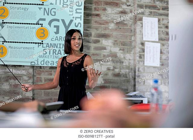 Young woman making presentation in meeting