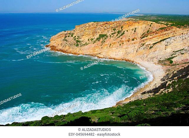 Praia dos Lagosteiros beach near Lisbon in Portugal