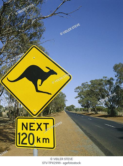Australia, Holiday, Kangaroo, Landmark, Northern territory, Road, Sign, Tourism, Travel, Vacation