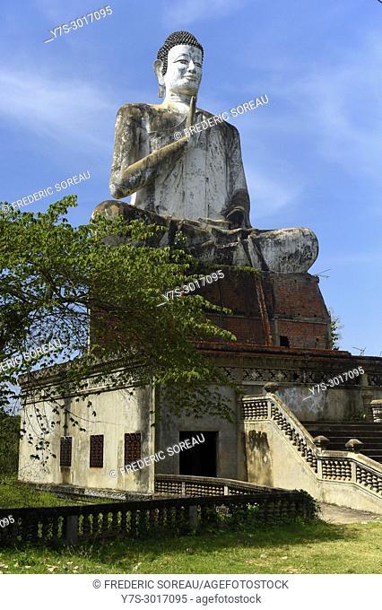 Giant Buddha statue at Wat Ek Phnom temple near the city of Battambang, Cambodia, South East Asia, Asia