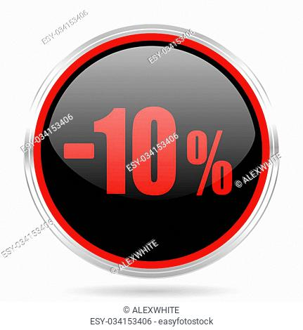10 percent sale retail black and red metallic modern web design glossy circle icon