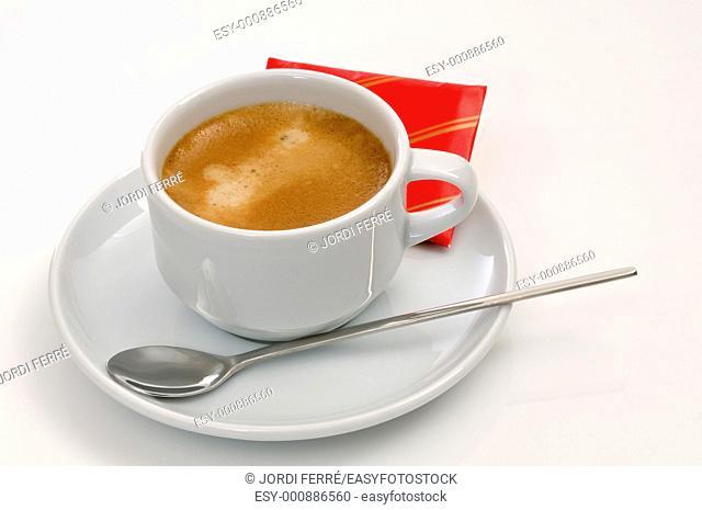 Espresso coffee on white background